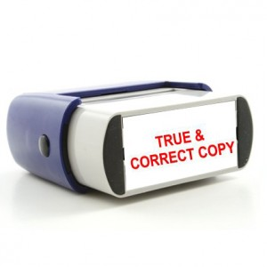 Rubber Stamp True & Correct Image